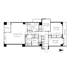3LDK Mansion in Tsukuda - Chuo-ku Floorplan