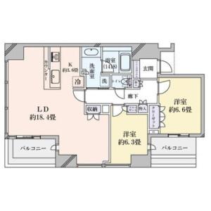 2LDK {building type} in Fukushima - Osaka-shi Fukushima-ku Floorplan