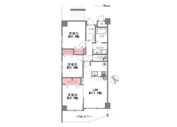 在大阪市天王寺区购买3LDK 公寓大厦的 楼层布局