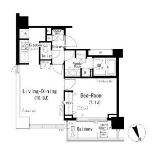 1LDK Apartment in Tomigaya - Shibuya-ku Floorplan