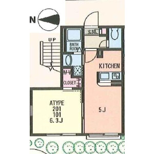 1LDK Apartment in Kamiyoga - Setagaya-ku Floorplan