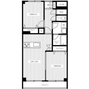 2LDK Mansion in Namamugi - Yokohama-shi Tsurumi-ku Floorplan