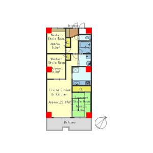 3LDK Apartment in Kisshoin nakajimacho - Kyoto-shi Minami-ku Floorplan