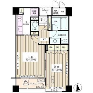 1LDK Mansion in Nishiwaseda(2-chome1-ban1-23-go.2-ban) - Shinjuku-ku Floorplan