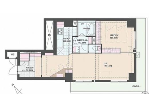 1SLDK Apartment to Buy in Taito-ku Floorplan