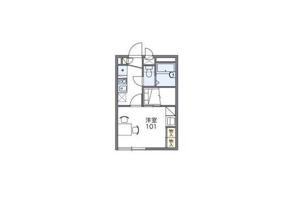 1K Apartment to Rent in Chigasaki-shi Floorplan