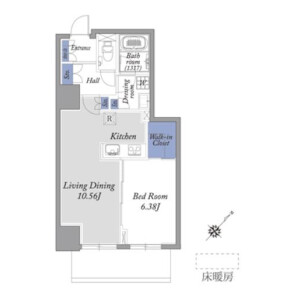 新宿区西新宿-1LDK公寓 楼层布局