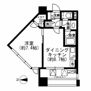 1LDK Apartment in Ichigayahommuracho - Shinjuku-ku Floorplan