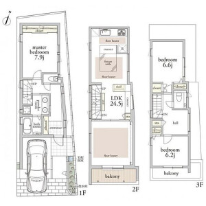 3LDK {building type} in Oi - Shinagawa-ku Floorplan