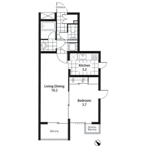 1LDK Apartment in Todoroki - Setagaya-ku Floorplan