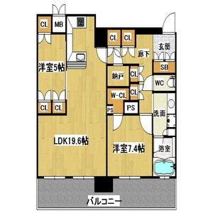 2LDK Mansion in Minamihommachi - Osaka-shi Chuo-ku Floorplan