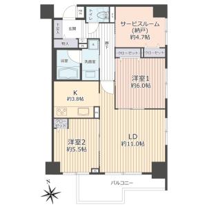 2SLDK {building type} in Nishiaraihoncho - Adachi-ku Floorplan