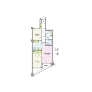 2LDK {building type} in Naitomachi - Shinjuku-ku Floorplan