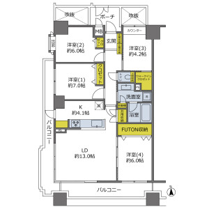 4LDK {building type} in Honamicho - Suita-shi Floorplan