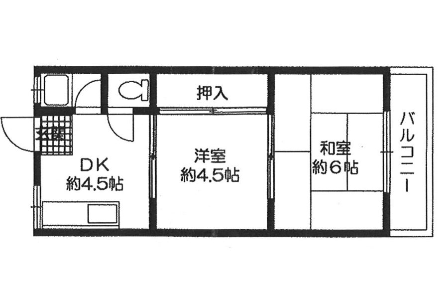 2DK Apartment to Rent in Osaka-shi Tennoji-ku Floorplan