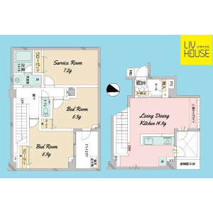 2SLDK {building type} in Honcho - Nakano-ku Floorplan