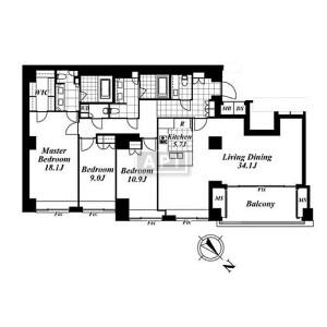 3LDK Apartment in Yoyogi - Shibuya-ku Floorplan