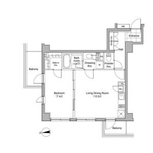 1LDK Mansion in Mita - Minato-ku Floorplan