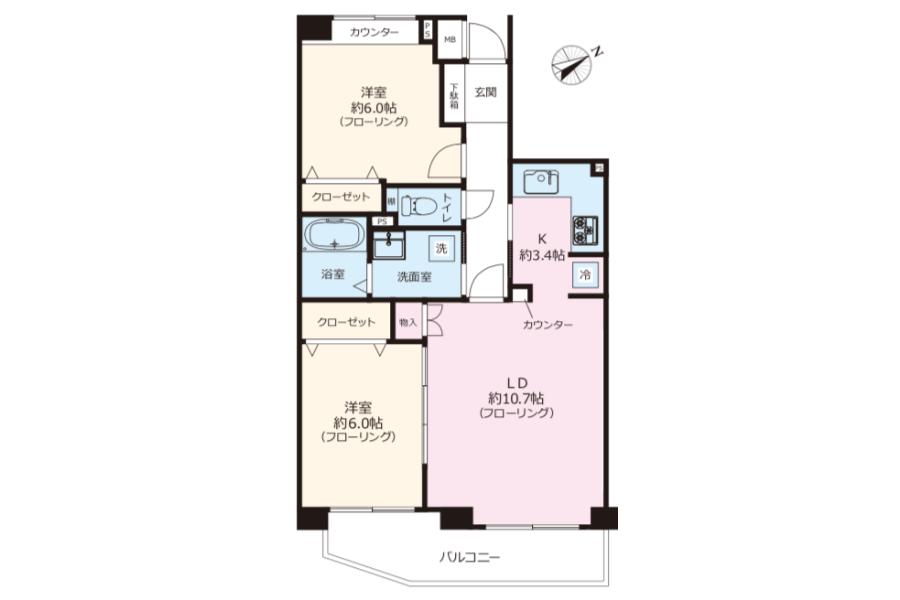 2LDK Apartment to Buy in Yokohama-shi Kohoku-ku Floorplan