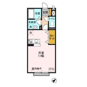 1R Apartment in Chishirodai nishi - Chiba-shi Wakaba-ku Floorplan