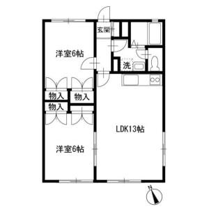 2LDK Apartment in Nakataminami - Yokohama-shi Izumi-ku Floorplan