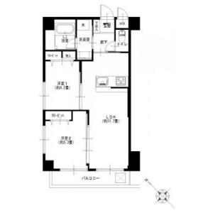 2LDK {building type} in Nanashimacho - Yokohama-shi Kanagawa-ku Floorplan