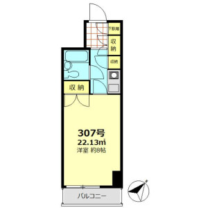 1K Mansion in Omorinishi - Ota-ku Floorplan