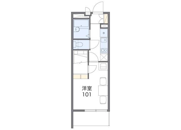 在川崎市麻生区内租赁1K 公寓 的 楼层布局