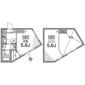 1R Apartment in Sakurashimmachi - Setagaya-ku Floorplan