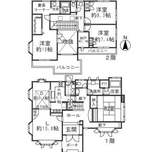 町田市三輪緑山-4SLDK獨棟住宅 房間格局