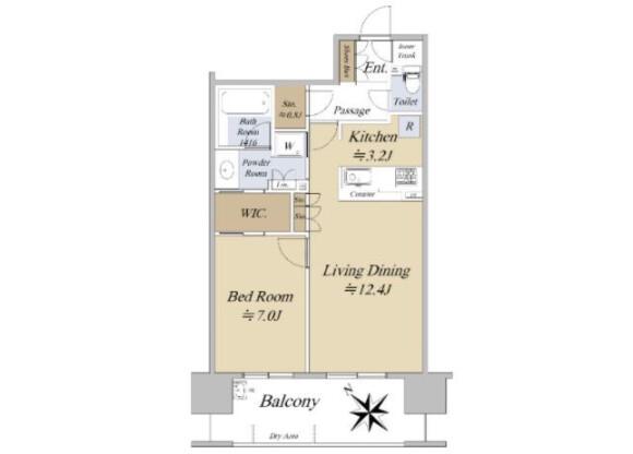 在江東區購買1LDK 公寓大廈的房產 房間格局