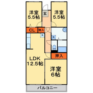 3LDK Mansion in Oyumino - Chiba-shi Midori-ku Floorplan