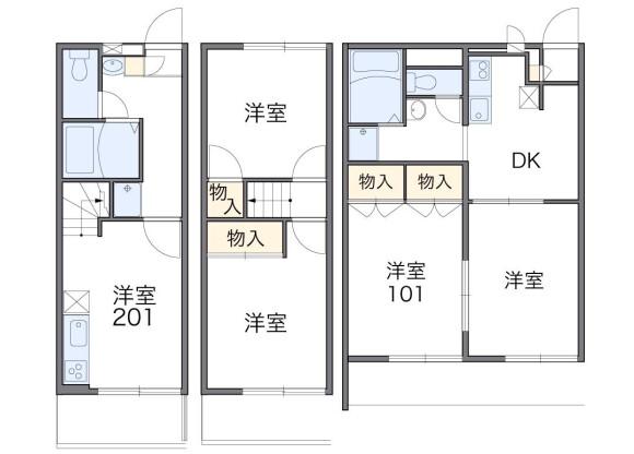 在千葉市稲毛区内租赁2DK 公寓 的 楼层布局