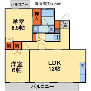 千葉市稲毛区長沼町-2LDK公寓大厦 楼层布局