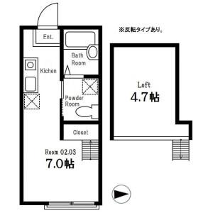 横濱市港北區篠原東-1R公寓 房間格局