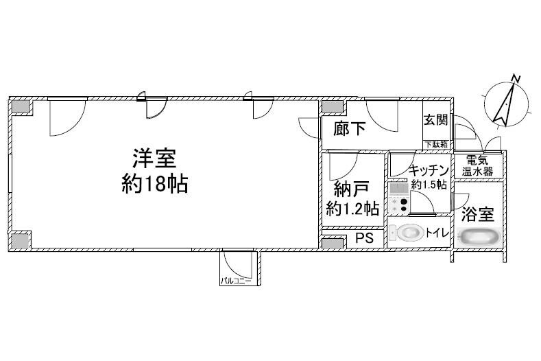 1SK Apartment to Buy in Toshima-ku Floorplan