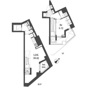 1LDK Mansion in Motoazabu - Minato-ku Floorplan