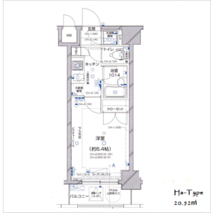 1K Apartment in Toranomon - Minato-ku Floorplan