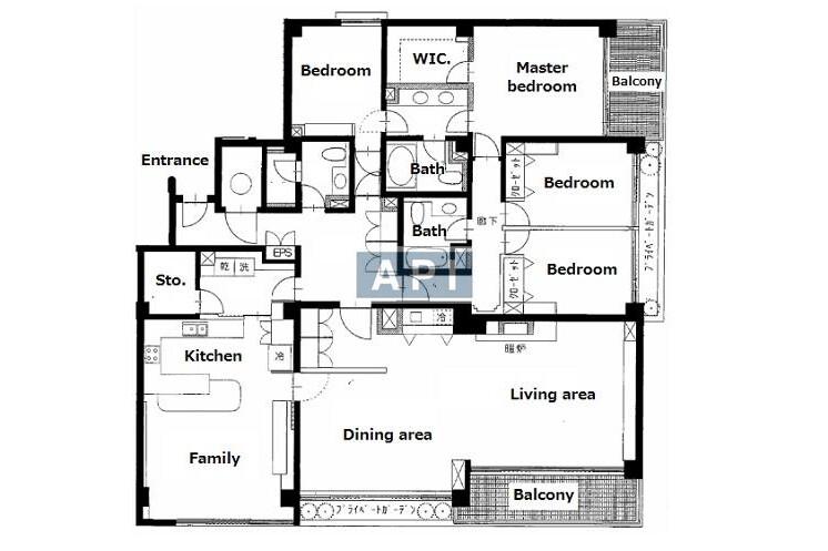 4LDK Apartment to Rent in Shinagawa-ku Floorplan