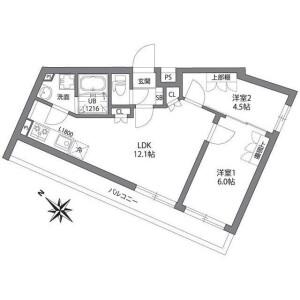 2LDK Mansion in Minami - Meguro-ku Floorplan