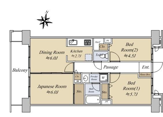 3DK Apartment to Buy in Sumida-ku Floorplan
