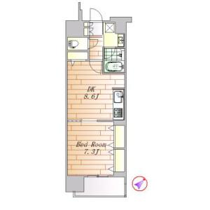 1LDK Apartment in Nishigotanda - Shinagawa-ku Floorplan