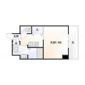 大阪市浪速区下寺-1K{building type} 楼层布局