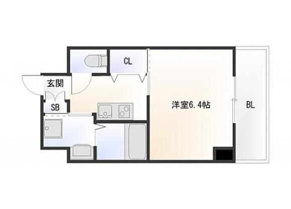 1K Apartment to Buy in Osaka-shi Naniwa-ku Floorplan