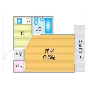 1K Apartment in Oriono - Osaka-shi Sumiyoshi-ku Floorplan