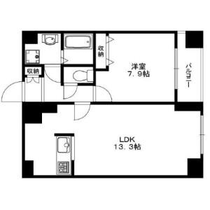 品川区西五反田-1LDK公寓大厦 楼层布局
