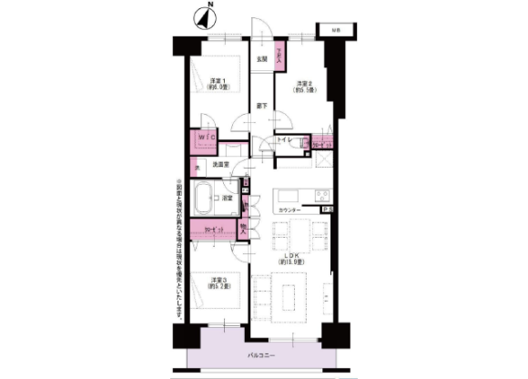 3LDK Apartment to Buy in Yokohama-shi Nishi-ku Floorplan