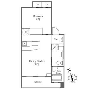 1DK Mansion in Nishiazabu - Minato-ku Floorplan