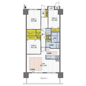 3LDK {building type} in Tanimachi(1-chome-5-chome) - Osaka-shi Chuo-ku Floorplan