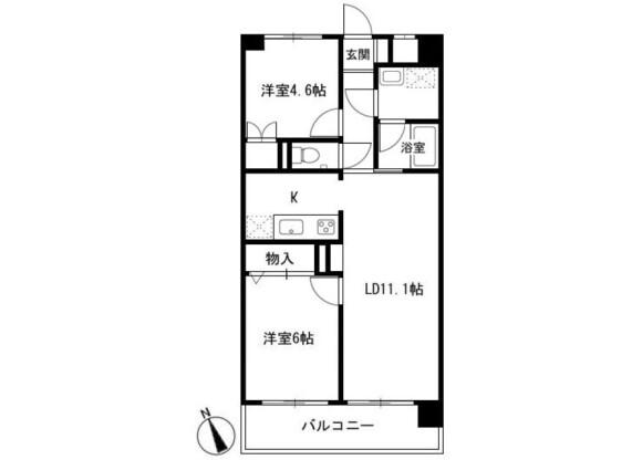 2LDK Apartment to Rent in Yokohama-shi Kohoku-ku Floorplan